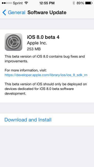 Apple iOS 8 Beta 4